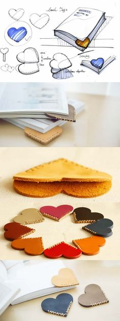 Heart Shaped Leather Bookmark, Set Of 6 (Diy Gifts Sewing) Felt Crafts, Diy And Crafts, Arts And Crafts, Kids Crafts, Craft Projects, Sewing Projects, Diy Bookmarks, Leather Bookmarks, Diy Cadeau