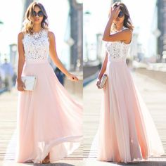 Robe de mariage : Chiffon Maxi Dress Two Tone Round Neck Sleeveless Pleated Long Dress For Women Long Prom Gowns, Evening Dresses, Prom Long, Bridesmaid Dresses, Prom Dresses, Bridesmaid Ideas, Dress Prom, Dress Long, Chiffon Maxi Dress