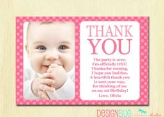 first birthday baby girl invitation diy photo printable custom invite pink polka dots 1 year o - First Birthday Thank You Cards