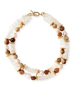 "Pearl+&+Java+Glass+Beaded+Bracelet+by+Akola+at+Neiman+Marcus. 20""  $225"
