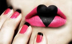 #lips #pink #heart #black