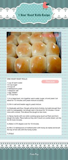 1 Hour Yeast Rolls Recipe Change the 10 minute rise to longer, until yeast mix doubles in size. Homemade Rolls, Bread Machine Recipes, Yeast Bread Recipes, Bread Bun, Baking Recipes, The Best, Food And Drink, Yummy Food, Tasty