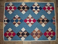 Antique Indigo Blue Nine Patch Crib or Doll Quilt