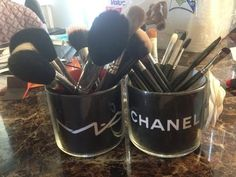 DIY MAKEUP BRUSHES HOLDER using Chanel and MAC paperbags to design empty candle jars - YouTube