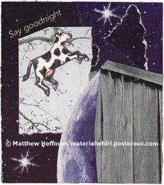 SAY GOODNIGHT - traditional paper collage by MaterialWhirlCollage, $6.50