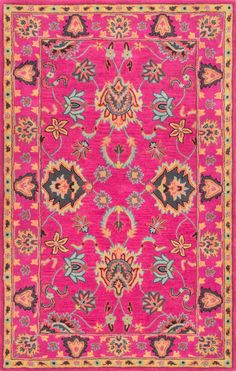 nuLOOM - Nuloom Hand Tufted Montesque Pink 165043 Area Rug #165043  TOO bright, I'm sure--but so prrrrretty