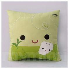 12 x 12 Pillow Tea Pillow Decorative Throw Pillow Kawaii by mymimi, $21.00