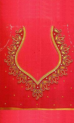 Pakistani Wedding Lengha Embroidery Design 21290 - New Ideas Cutwork Blouse Designs, Wedding Saree Blouse Designs, Simple Blouse Designs, Embroidery Neck Designs, Stylish Blouse Design, Hand Work Embroidery, Simple Embroidery, Aari Embroidery, Hand Work Blouse Design