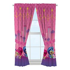 Finish your daughters room off with these Nick Jr. Shimmer & shine secret wishes 82x63 inches drapes. These pink ground drapes feature shimmer & shine and their pets along the bottom. Made of 100perce...