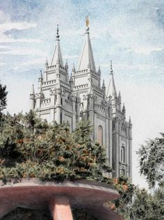 Salt Lake Temple - Watercolor by Brent Borup