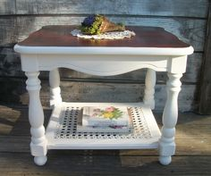 Vintage refurnished side end table. Cane shelf. Bombay stained top. Shabby french farmhouse table furniture