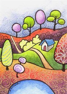Student Drawing, Art Drawings For Kids, Naive Art, Whimsical Art, Fine Art Gallery, Mandala Art, Rock Art, Painted Rocks, Watercolor Paintings