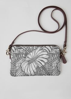 Leather Statement Clutch - leaves in grey by VIDA VIDA Qcgb93