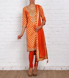 Orange Embroidered Silk Brocade Churidar Suit
