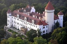 Enjoy this private round-trip transport to Konopište castle from Prague. The castle is a four-winged three story chateau located around away from the capital. Tickets to castle tour are included in the price.All Included tour. Day Trips From Prague, Voyage Europe, Castle House, Destinations, Round Trip, Kirchen, Day Tours, Places Around The World, Ancient Architecture