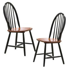 """Boraam Farmhouse Wood Chair in Black- Set of 2 by Boraam. $71.31. Dimensions: 18""""H X 17""""W X 17""""D. Solid Hardwood construction, RTA Structure. Shaped seat for Comfort. Case Pack: 2pcs/ctn. Classic Windsor Spindle Design. Traditional dining chairs have splayed legs, contoured seats. Two-tone black finish. Farmhouse. Slat back design. Classic Windsor spindle design shaped seat for comfort RTA Structure , Made from Solid hardwood -Dimensions: 18""""H X 17""""W X 17""""D. Save 47%!"""