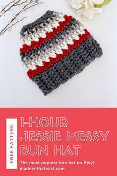 Make the one-hour Jessie Messy Bun Beanie today with this free pattern. Whether you make it striped or solid, it's gorgeous, quick, and easy. Thousands of crocheters have raved about this hat and now, you can make it, too. I know you're going to love it and can't wait to see your finished hats when you tag @madewithatwist on social media! #jessiebunhat #freecrochetpattern #crochetpattern #messybunbeanie #onehourbunhat #onehourbunbeanie #crochetbunhat