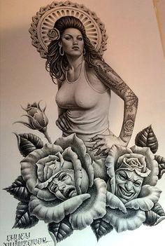 Amazing sketch work done by tattoo artist Chuey Quintanar