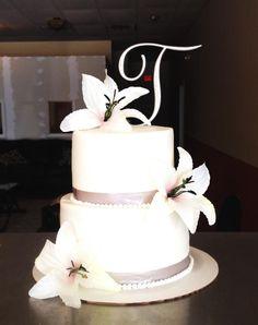 Simple Silver Wedding Cake Bake Your Day, LLC - Alexandria, LA www.facebook.com/bakeyourdayllc (318) 229-0299 bakeyourdayllc@hotmail.com