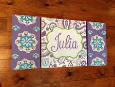 large colorful nursery art - personalized- hand painted- Inspired by Brooklyn bedding- purple aqua  floral paisley by addilyneli on Etsy https://www.etsy.com/listing/176694243/large-colorful-nursery-art-personalized