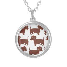 Dachshunds Pattern Necklace; Abigail Davidson Art