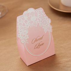 """Pink 'Sweet Love """"Papier Carte faveur Holder-ensemble de 12 – EUR € 6.01"""