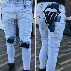 Painted jeans diy hand made
