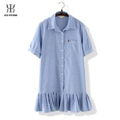 Aliexpress.com : Buy Summe Casual Loose Shirt For Women Short Sleeve Lapel Cotton Stripe Pattern Blue White Blouses Long Shirt With Hems Tops from Reliable shirt of real madrid suppliers on JYJ STUDIO