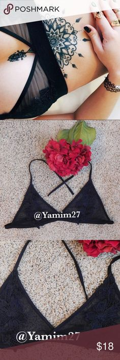 Sheer Mesh Embroidered Bralette, Black  Back by popular demand!    This knit mesh bralette features floral embroidery on the front. Straps are tied around neck and back. A small will fit up to a C cup.    Decoration: Embroidery  Material: Polyester, Mesh  ✭Price is firm ☾I do NOT trade ✭10% off 2+ item bundles Instagram @Yami.Boutique (Discount codes & giveaways!) Intimates & Sleepwear Bras