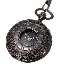 Reloj De Bolsillo Tipo Vintage Negro Manecillas Romanas Ok