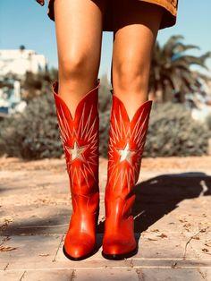 Stivali texani donna in pelle rossi con lacci made in italy