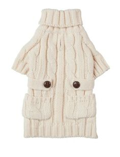 Cream Dog Sweater. Cable Knit Turtleneck Sweater for Your Dog.
