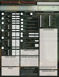 d&d character sheet | last season wizards made a significant change to the d d encounters ...