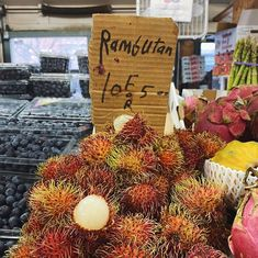 Discovered a new-to-me fruit at the @westsidemarket in Cleveland: #Rambutan. They look like the offspring of a strawberry and those spiny brown balls that fall from trees but I have no idea what they taste like. Have you heard of them? Eaten them? Im so curious!