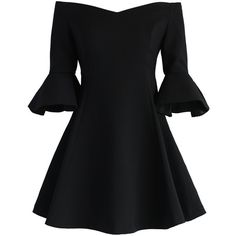 Chicwish Simple Elegance Off-shoulder Dress in Black (190 BRL) ❤ liked on Polyvore featuring dresses, vestidos, black, short dresses, short flare dress, flared sleeve dress, off shoulder cocktail dress and fit and flare mini dress