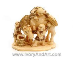 Mammoth Ivory Netsuke - Children washing horse