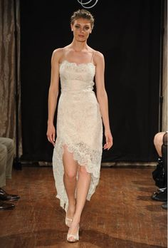 "Brides.com: Sarah Jassir - Spring 2013. ""Belle"" asymmetrical blush lace sheath weeding dress with spaghetti straps, Sarah Jassir  See more Sarah Jassir wedding dresses in our gallery."
