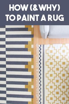 Learn how to paint a rug -- and why you'd even want to! Customize an area rug in any color palette for a budget-friendly makeover! Easy Painting Projects, Diy Projects To Try, Diy Craft Projects, Decor Crafts, Diy Crafts, Hobbies To Try, Painted Rug, Douglas House, Rugs