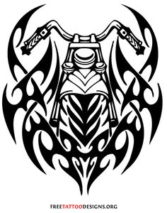 Tribal motorcycle tattoo design