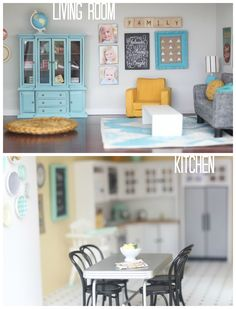 DIY dollhouse  living room & kitchen by craftiness is not optional... When a dollhouse is nicer than your real house....