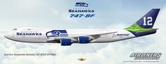 Seattle Seahawks Boeing 747-87UF N770BA. Airliners Illustrated® by Nick Knapp©.