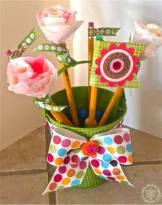 teachers gift-have the girls make some of these pencils as part of a gift basket for teachers.