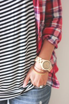 Flannel & stripes..I could live in this outfit for the rest of my life!