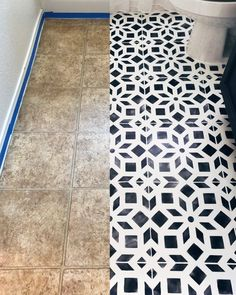 Linoleum floor renovation ideas on a budget using easy-to-use DIY tile stencil p. - Linoleum floor renovation ideas on a budget using easy-to-use DIY tile stencil patterns from Cuttin - Painting Linoleum Floors, Linoleum Flooring, Diy Flooring, Kitchen Flooring, Plywood Floors, Painted Bathroom Floors, Painted Floors, Bathroom Cabinets, Bathroom Faucets