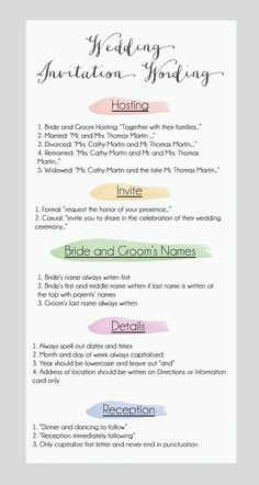 Here are some wedding invitation wording suggestions - for more advice on wording your wedding invitations visit http://www.bemyguest.co.nz/product/wedding-invitation-wording-guide/