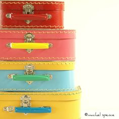 PHOTOGRAPHS of a Set of Four Vintage Suitcases Vintage Vintage Stacked Suitcases Toys Pastel Vintage Child Pink Blue Yellow Red