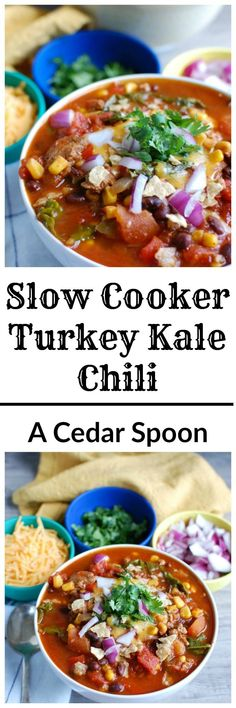 Who doesn't love a great slow cooker chili recipe? This healthy, protein-packed Slow Cooker Turkey Kale Chili will warm your family up in the colder months and makes the perfect game day meal. // A Cedar Spoon