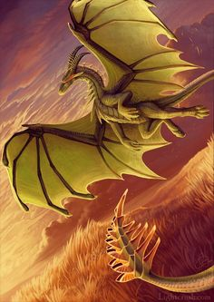green dragon on the wing