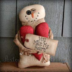 You Melt My Heart Snowman shelf sitter by Paxton Valley Folk Art. Available at primnest.com #handmade #primitive_snowman #Valentines_Day