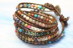 5 Wraps Crystal Glass Beads Leather Wrap Handmade Bracelet Women Bracelet